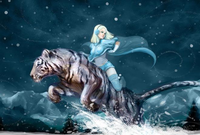Горы девушка белый тигр аниме ночь