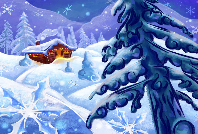 Елка рисунок зима на рабочий стол