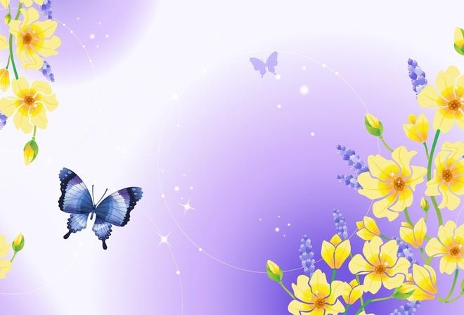 Почки цветы блеск бабочка природа