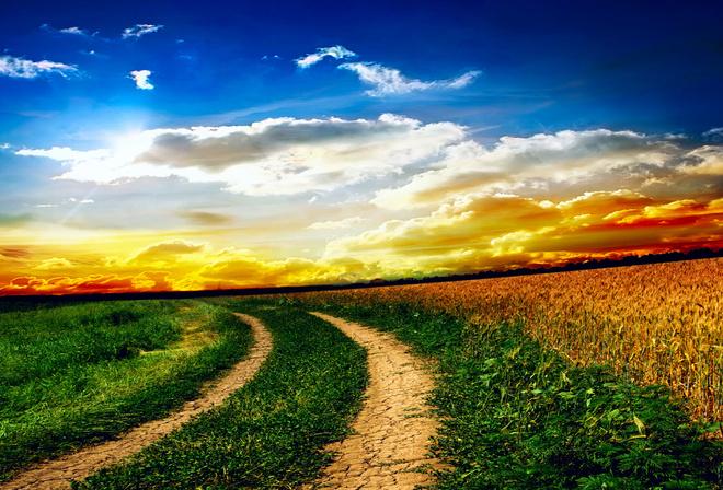 Облака пейзаж природа дороги поле