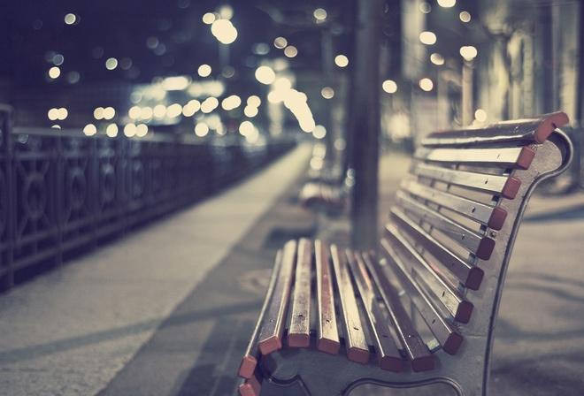 скамейка, картинка, лавочка, блики, обои, Вечер, боке