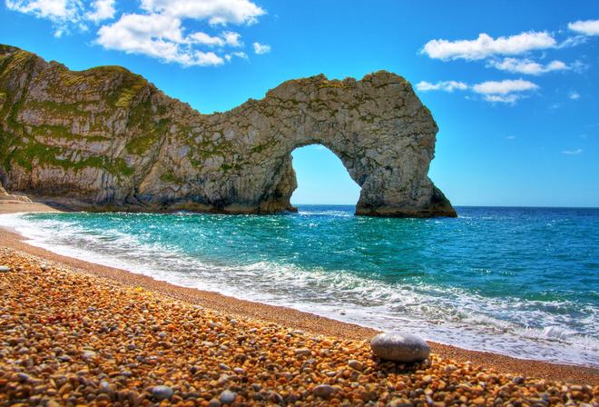 Скала пляж природа облака камушки