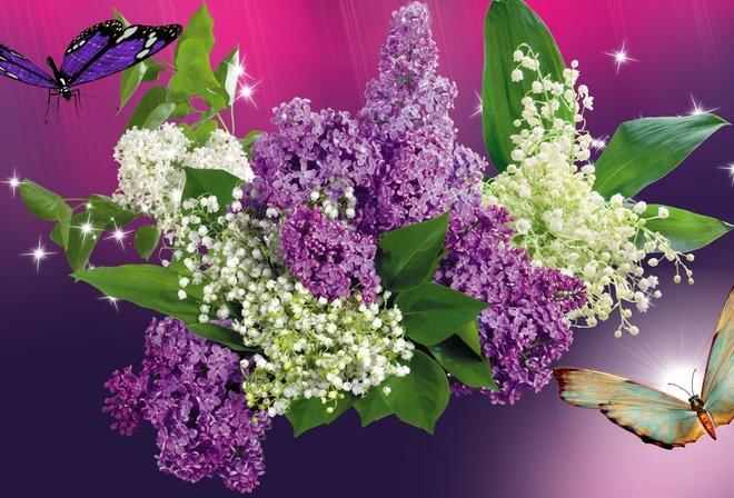 Сквозь цветы сирени обои для