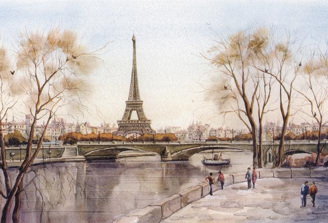Город эйфелева башня париж рисунок