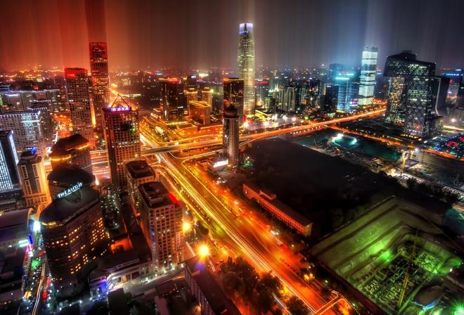 Азия китай ночной город огни
