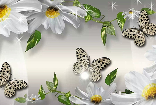 Бабочки цветы белые