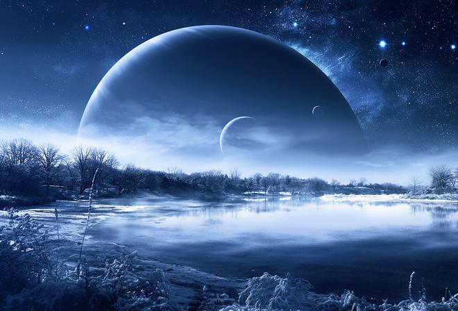 космос, qauz, зима, снег, звёзды, Планеты