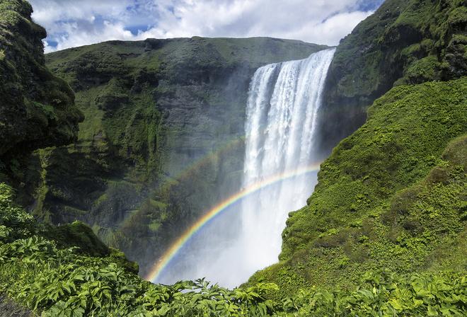 Водопад скоугафосс исландия красиво