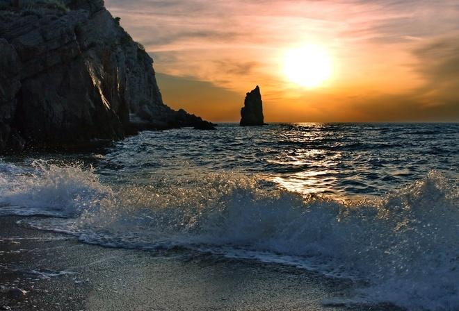 Природа море скалы горы волны вода