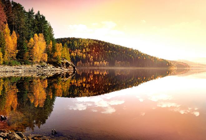 осень, озеро, природа, горы, лес, берег, вода, отражение, утро, красиво