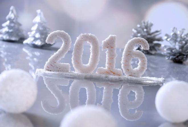 новый год, надпись, 2016, светлый фон, шары, елочки, шишки, красиво