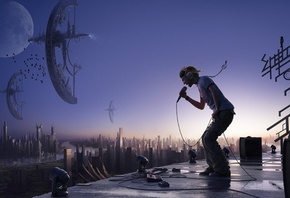 wallpapers guy with a microphone in his hand, shaking the universe, music, photo