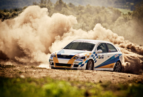 Rally, opel, astra, пыль, ралли, занос