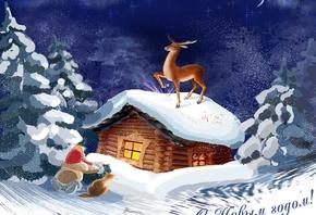 Лес зима олень мультфильм на рабочий