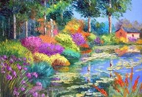 разноцветные, радуга, дом, домик, деревья, яркие, Цветы