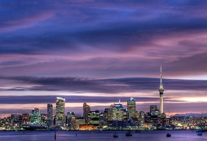 city, Auckland, skyscrapers, new zealand, окленд, city center, sky tower, h ...