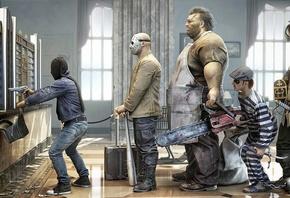 рендер, банк, ограбление, сумка, маньяки, пират, бензопила, бита, маска, зэк, роба, клиенты, юмор