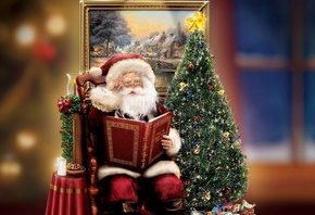 Santa Claus, Santa, christmas, decoration, Thomas Kinkade, gift, christmas  ...