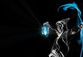 смерть, коса, дым, фонарь, чёрный фон, свет