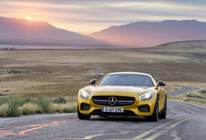 Mercedes-Benz, AMG, S, GT, road, ������, ����, coupe, sunset, ������, �����