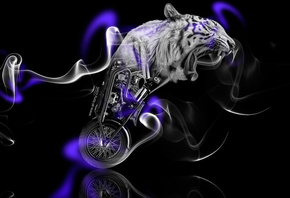 Tony Kokhan, Moto, Fantasy, Tiger, Bike, Smoke, Violet, Neon, Black, Side, Chopper, el Tony Cars, Animal, HD Wallpapers, ���� �����, �������, ����, ��������, ����, �������, �������, ����������, ��������, ����, ����, ���, ����������, ����, ����, ���, 2014