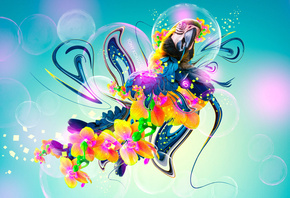 Tony Kokhan, Parrot, Flowers, Fantasy, Multicolors, Neon, Plastic, Fly, Bird, el Creative, Photoshop, HD Wallpapers, ���� �����, �������, �������, �����, �����, ��������, ������������, ������������, �����, ���, ����, 2014