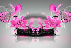 Tony Kokhan, Pagani, Huayra, Fantasy, Flowers, Butterfly, Water, Pink, Colors, Glamour, el Tony Cars, Photoshop, Design, Art, ���� �����, �������, �����, ������, �����, �����, �������, �������, �������, �����, �������, ����, ������, ����������, ������, ��
