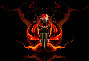 Tony Kokhan, Moto, Ducati, 1199, Front, Fire, Bike, Abstract, Orange, Flame, Black, el Tony Cars, Photoshop, HD Wallpapers, Design, Art, Style, ���� �����, �������, ����, ��������, ������, ��� �������, ��������, �����, ����, ���, �����, 2014, ������, ���,