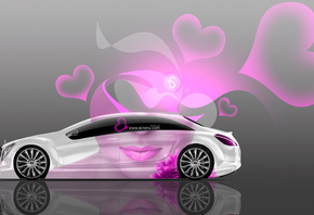 Tony Kokhan, Mercedes-Benz, F700, Side, Glamour, Girl, Aerography, Pink, Neon, Effects, Lips, 4K, Wallpapers, el Tony Cars, Heart, Design, Art, Style, ���� �����, �������, ��������-����, ��������, �700, ��� �����, ����������, ������, �������, ��������, ��