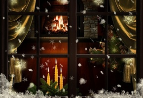 окно, уют, камин, елочка, снежинки, праздник