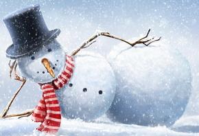снеговик, лежит, смотрит, зима, прикольно, креатив, новый год