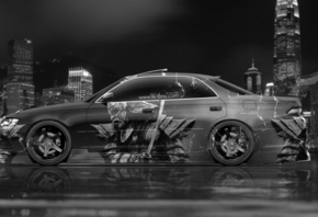 Tony Kokhan, Toyota, Mark2, JZX90, JDM, Tuning, Samurai, Japan, City, Aerography, Side, Black, White, Silver, Photoshop, Design, Art, Style, el Tony Cars, Wallpapers, ���� �����, �������, ������, ����2, ��� �����, ����, ����������, �������, ������, ������