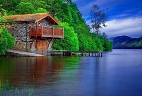 lake, water, cabin, tree
