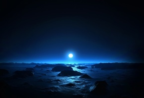 sea, moon, night, dark