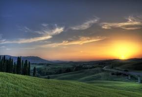 sunset, tuscany, grass, sky, sun