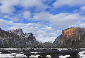 yosemite, national park, mountain, snow