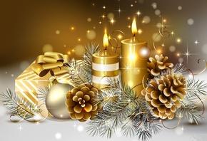 новый год, шишки, свечи, подарки