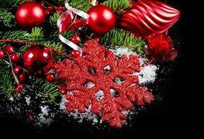 снежинка, темный фон, новый год, игрушки