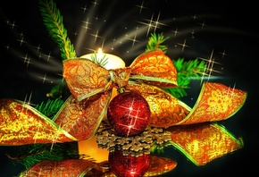 шарик, лента, бантик, ветка ели, новый год