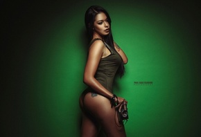 Mariela Valencia, women, tanned, Paul Egas Scarino, ass, tattoo, simple background, camera, black panties