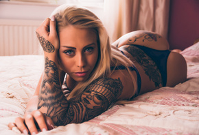 women, tanned, blonde, ass, tattoo, black lingerie, lying on front, in bed