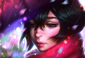 аниме, anime, рисунок, AyyaSap, портрет, девушка, дождь