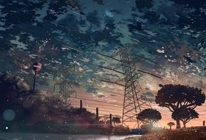 аниме, рисунок, закат, леп, дорога