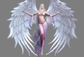 аниме, ангел, Фэнтези, 3d