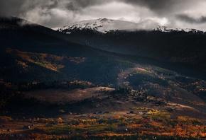 природа, снег, деревья, горы, домики, осень