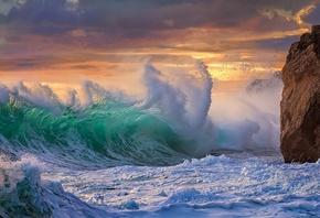 океан, волны, небо