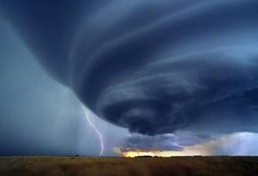 природа, облака, ураган, молния