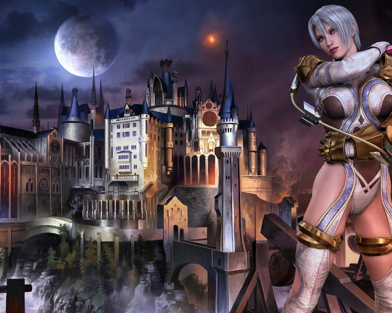wallpapers woman warrior, weapons, castle, fantasy, photo 1280x1024 on
