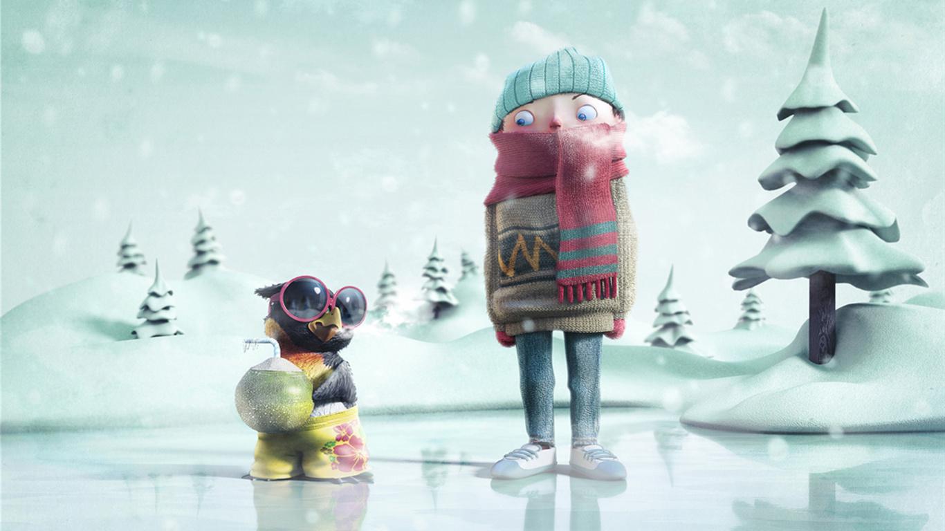 Fondos de pantalla de invierno joven pingüino frío hielo dibujos