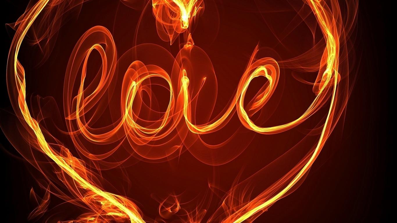 HD Tapeta slov o lásce, ohnivá písmena, srdce, láska, fotografie